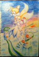 Sonic and Tails - Sunset at Sky Sanctuary by connieiscrazy