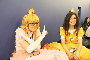 Geek hipster Princess Peach by PumpkinJackey