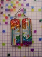 Rainbow Dash Sonic Rainboom Resin Earrings by QuoteCentric