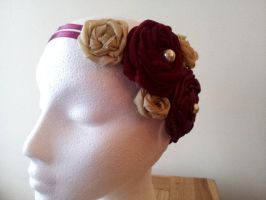 A Rose So Red Rosette Flower Headband by paradiseshoretwins