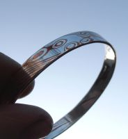 Mokume Gane silver and copper bangle view 3 by fairyfrog