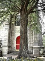 The Tree and the Church in Red by stitch52481