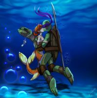 Donatello+April 'Ninja Sea Turtle Love by JasmineAlexandra
