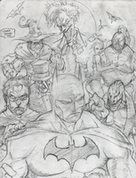 Batman and villains sketch by BIG-D-ARTiZ