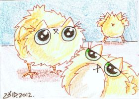 Funny cat easter chicks by KingZoidLord