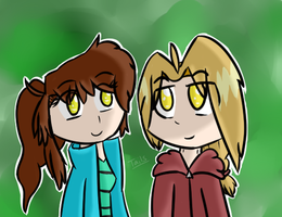 (Art trade) Kokoro and Edward by Tails-Crossing
