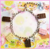 Chocolate Bar Charm Bracelet by cherryboop