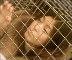 PETA Anti-Fur Protest: Woman in Cage by RosaLui