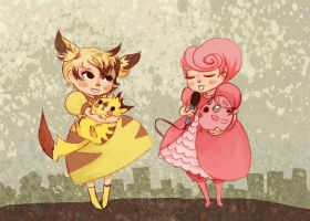 Poke Girls:  Pikachu and Jigglypuff by theGorgonist