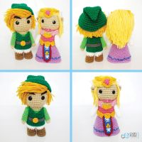 Link and Zelda. Crochet Amigurumi Plush Dolls by CyanRoseCreations
