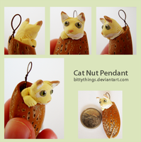 Nut Pendant Cat - SOLD by Bittythings