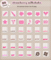 Strawberry Milkshake sys icons by kittenbella