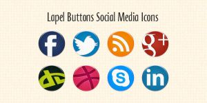 Lapel Buttons Social Media Icons by thearslan