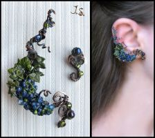 Grapevine ear cuff and stud by JSjewelry