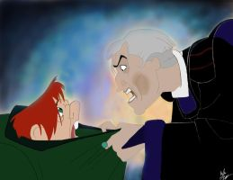 The Hunchback of Notre Dame: Quasimodo and Frollo by KaybuscusCappius