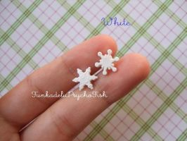 Mismatched Snowflake Earrings - White by FunkadelicPsychoFish