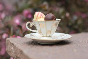 Pralines with tea by Silvermoonswan