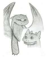 Toothless Smile and Growl by Seraph5