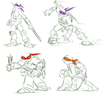 TMNT: Fighting Sketches by Fulcrumisthebomb