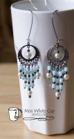 earrings: blue, pearly and gunmetal cascade by Margotka