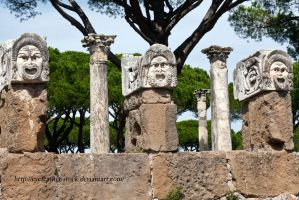 ostia antica masks by eyefeather-stock