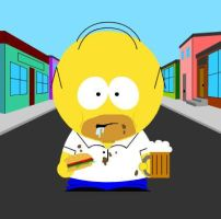 Homer Simpson South Park Style by Heidewachtel