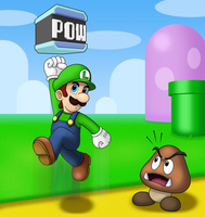 Luigi and Goomba by IndigoWildcat