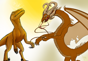 .:Velociraptor and Drake -Practice Random Stuff-:. by PhoenixSAlover