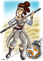Rey and BB8 - Star Wars VII : The Force Awakens by Celso33