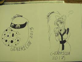 Ragno and Julie inked at Genericon 2013 by StamayoStudio