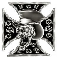 Scull and iron cross for Jim by Kribabe