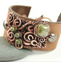 Leather Cuff Bracelet Copper Wire Wrap and Beads by whimoriginals