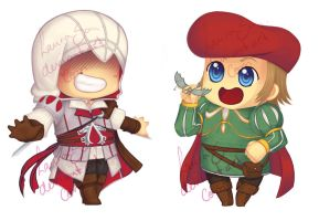 Ezio and Leo chibis by LauraSan