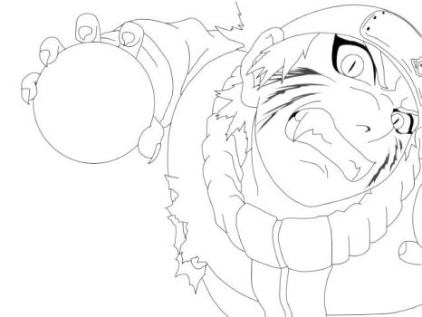 Lineart: Kyuubi Naruto. by boing-paradise
