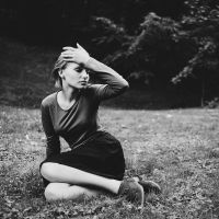 girl on grass by eugene-kukulka