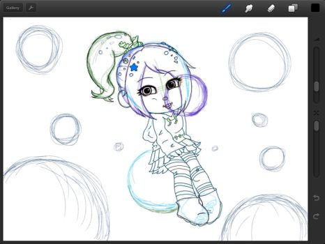 Wip Vanellope n Bubbles by 13Black-Queen-Star13