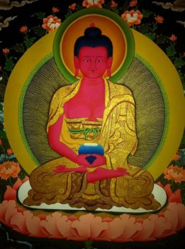 Red Amitaba Buddha by Suman-Lama