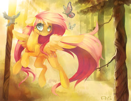 Morning Flutter by VeridianWolf