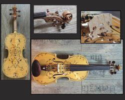 Violin with baroque design is finished by deviantviolins