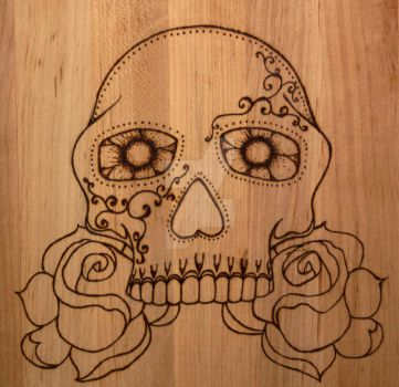 Day of the Dead-Sugar skull-Wood burning by claudiadora