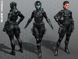 Female Soldier: Tron Colors by Taxer-Jinn