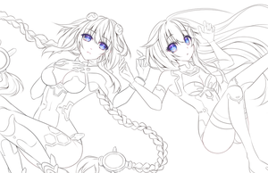Hyperdimension Neptunia Lineart FREE to COLOR by CaramelCaprice