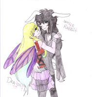 White Rabbit and Dragonfly by LuciferxMorningStar