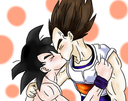 Goku x Vegeta Kiss by AshiMonster