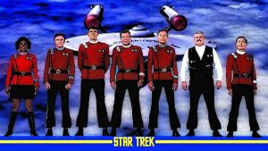 Star Trek Enterprise and Crew by Dave-Daring