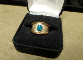 Rustic Black Opal Ring by salvagedsword