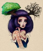 Girl Trees 02 by Adnilustra