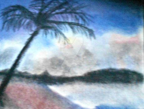 Palm Tree on Canvas by blacknimproud