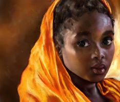 Rough Colored Sketch Of An African Girl by digit-Ds