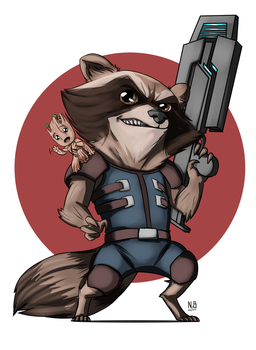 Chibi Rocket and Groot Vol. 2 by ConstantScribbles